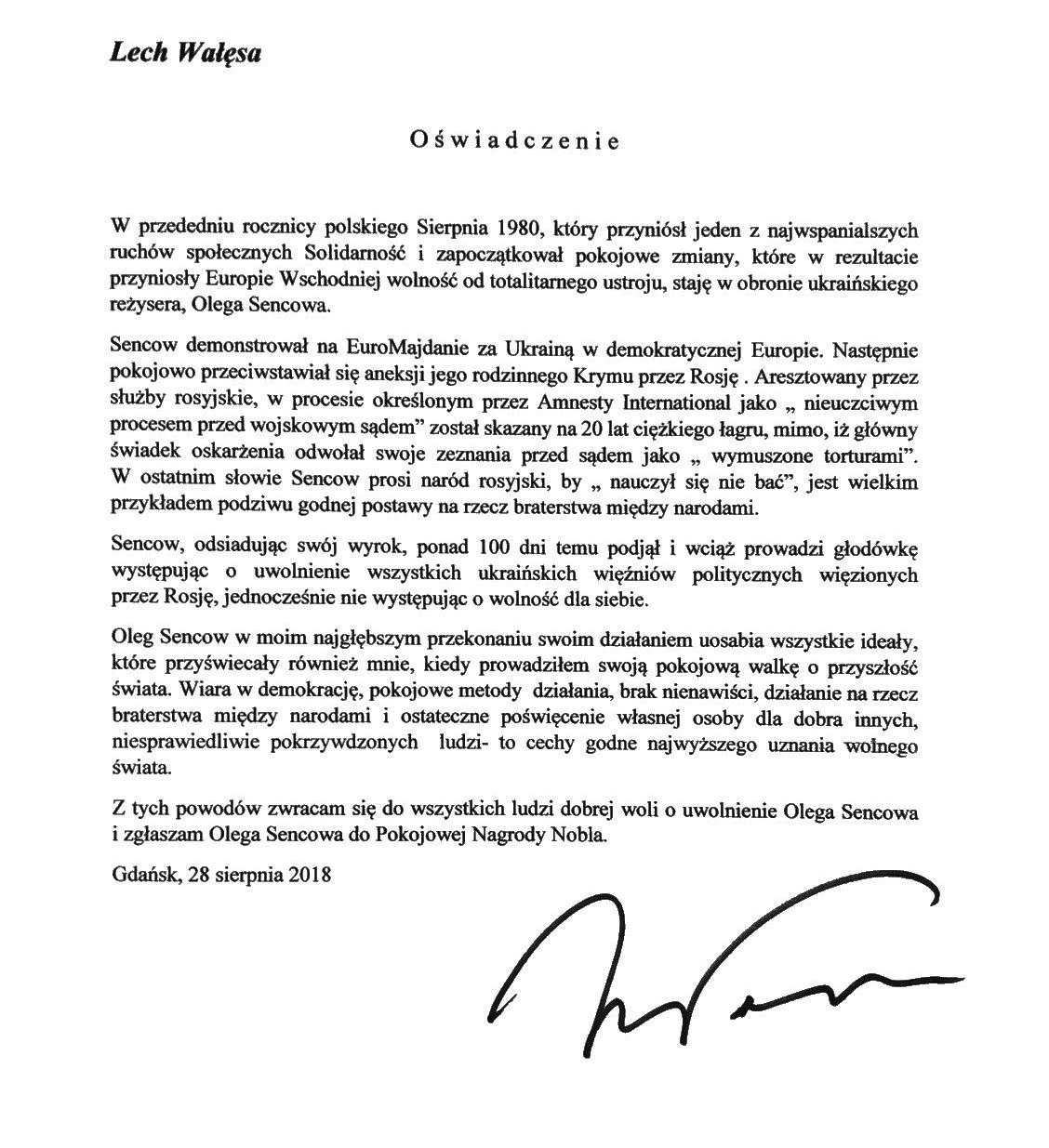 LECH_WALESA_OSWIADCZENIE_O.SENCOW