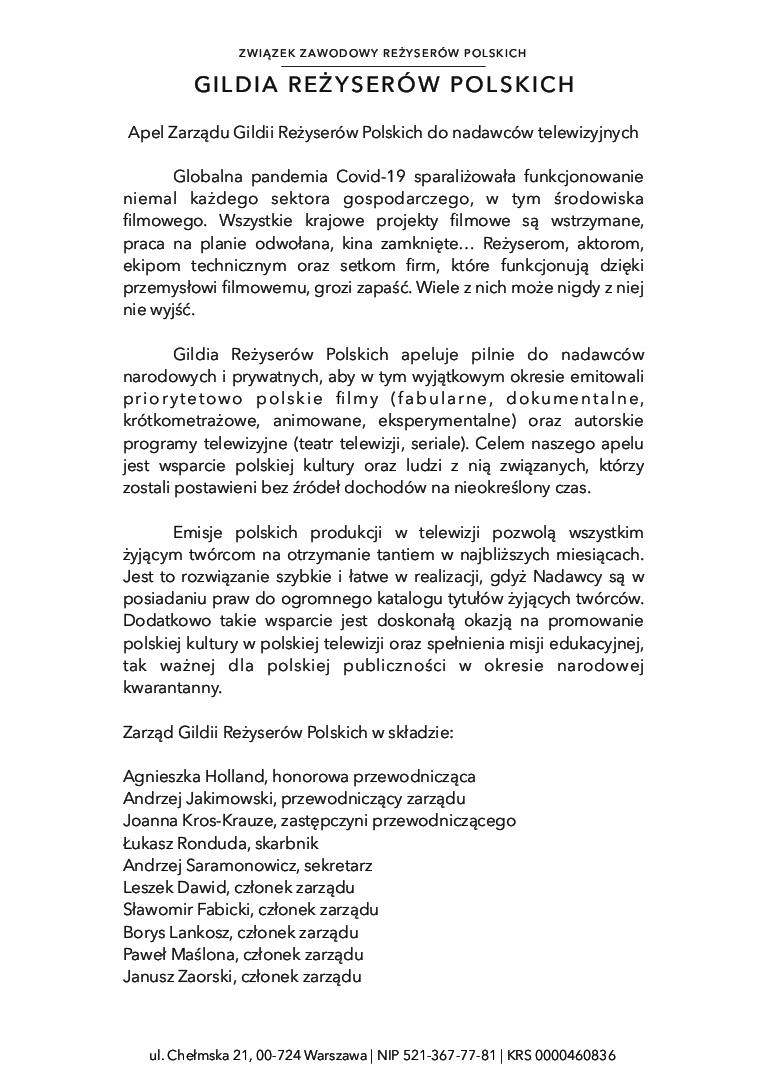 Gildia Reżyserów Polskich_apel do nadawców telewizyjnych